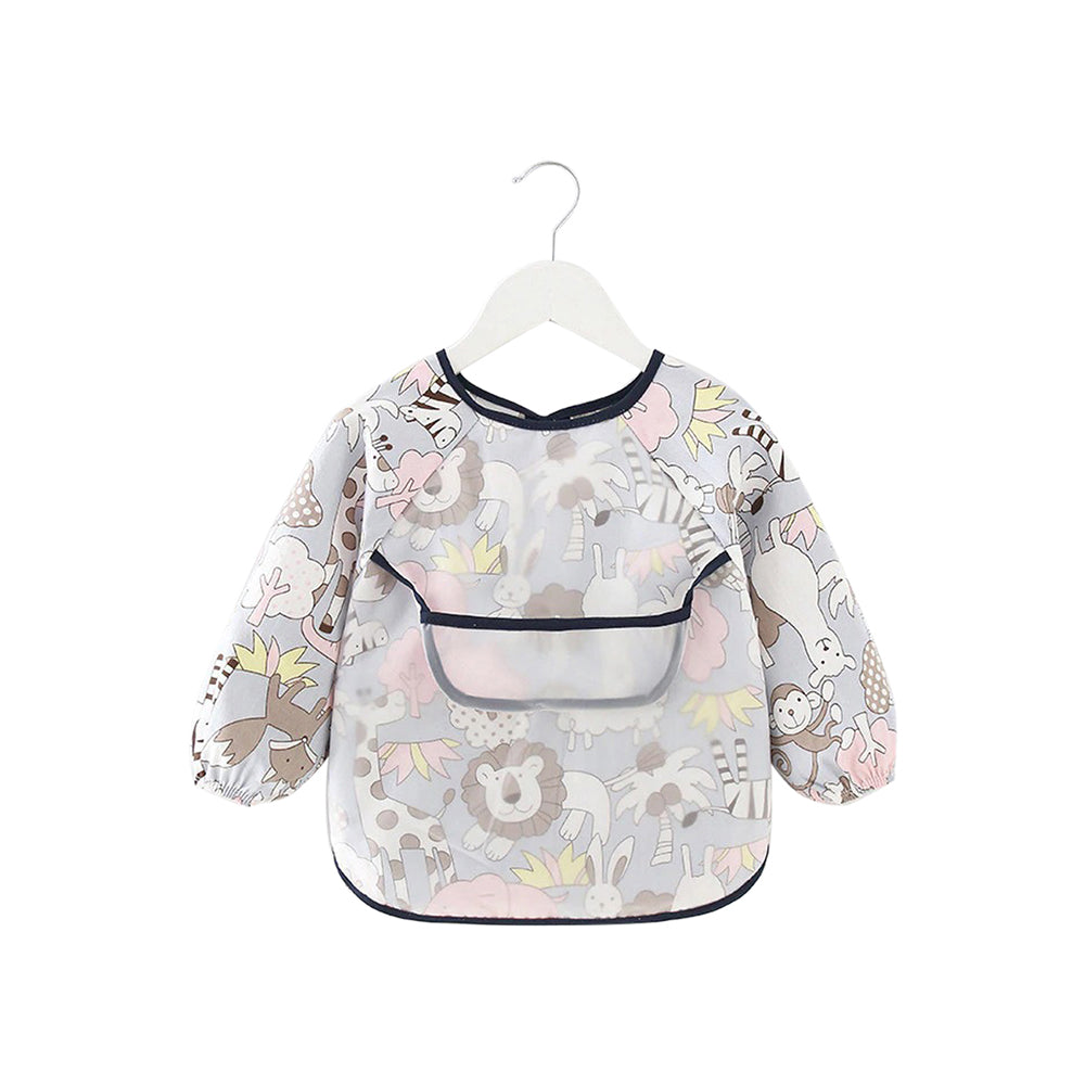 Baby Long Sleeve Apron Smock Bib — Grey Animals