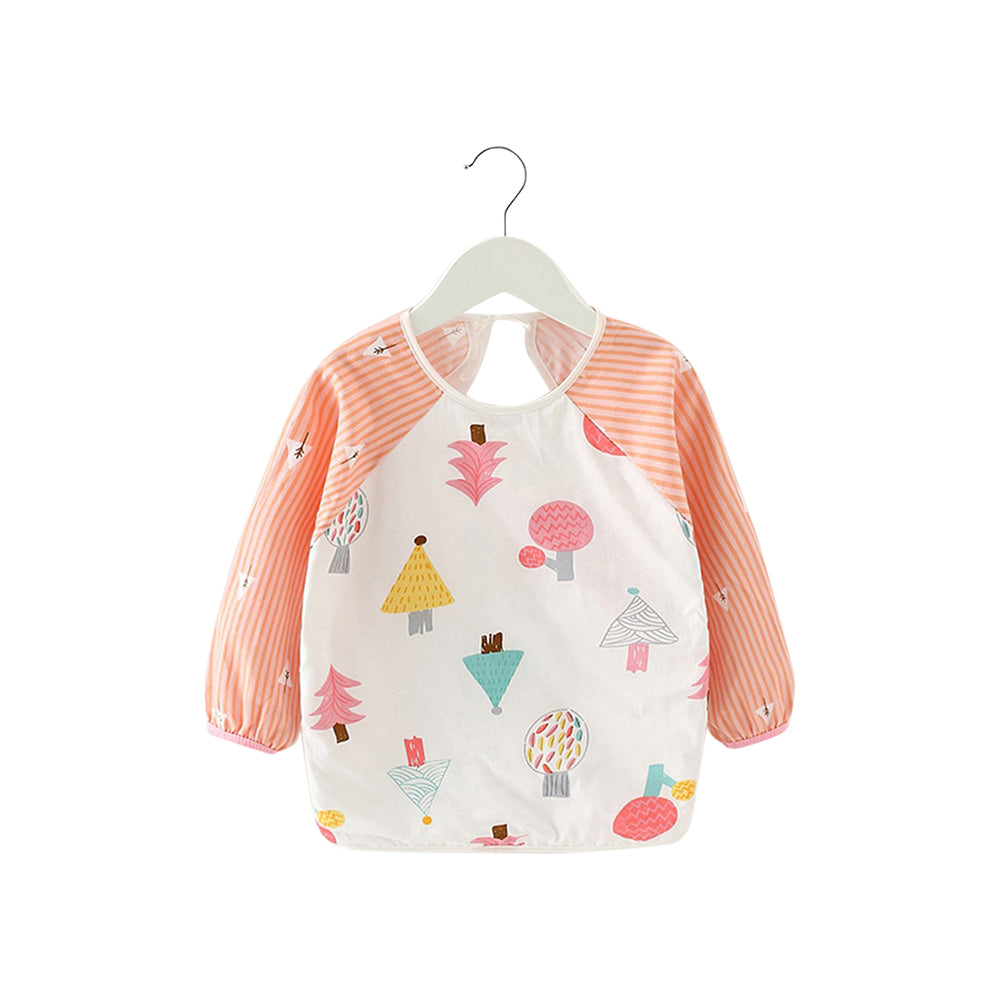 Baby Long Sleeve Apron Smock Bib — Peach Forest