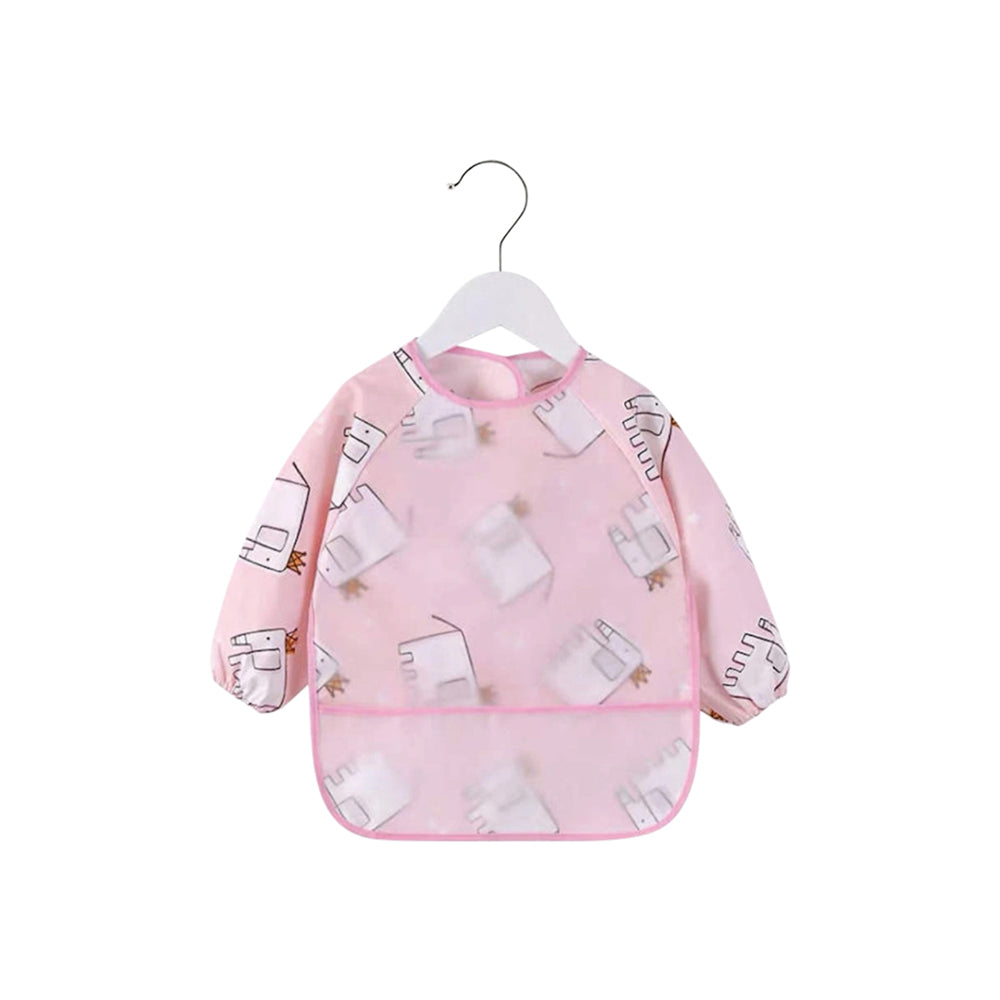 Baby Long Sleeve Apron Smock Bib — Pink Elephants
