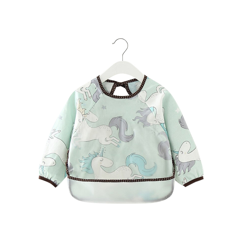 Baby Long Sleeve Apron Smock Bib — Teal Unicorns