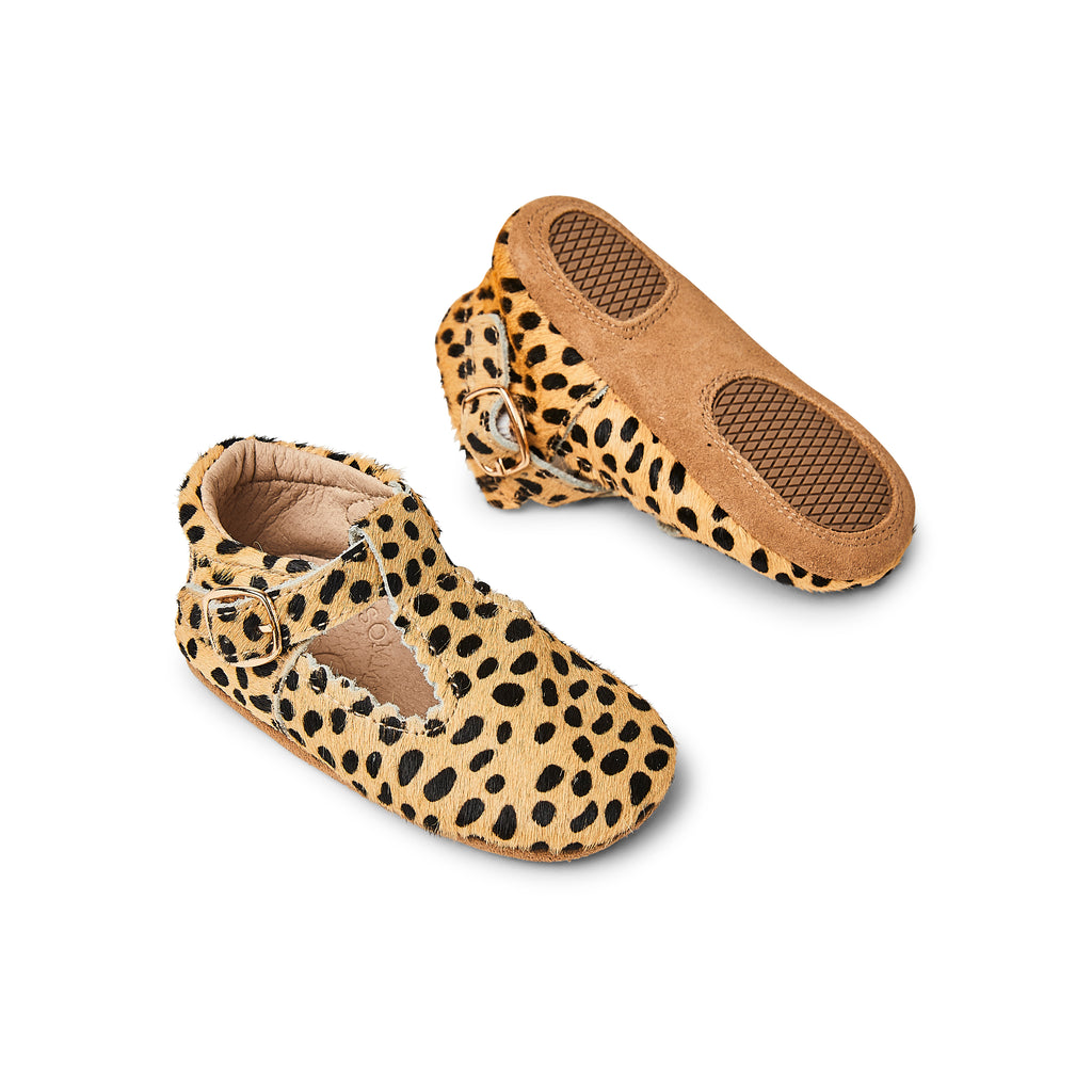 Sommerfugl Kids Cheetah Calf Hair Leather Soft Sole Baby T Bar Shoe Front and Sole