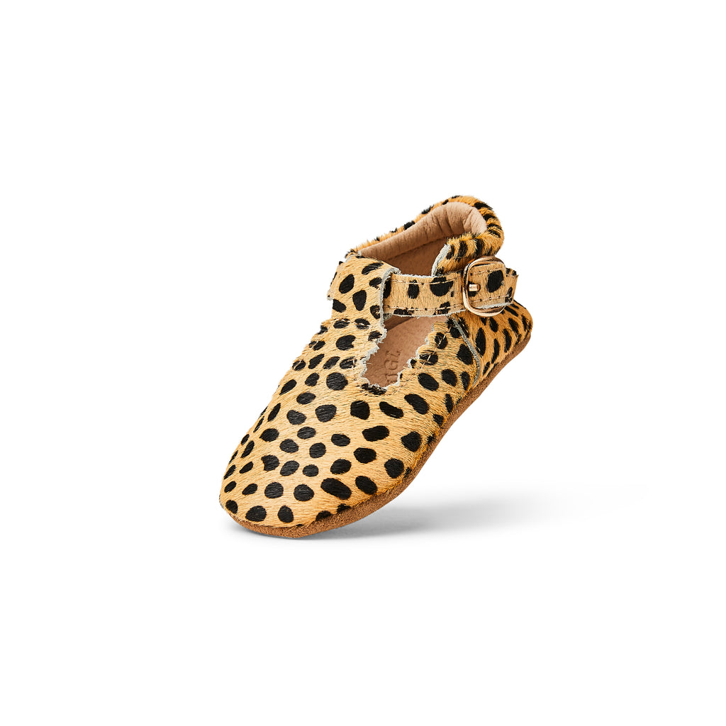 Sommerfugl Kids Cheetah Calf Hair Leather Soft Sole Baby T Bar Shoe Heel Up
