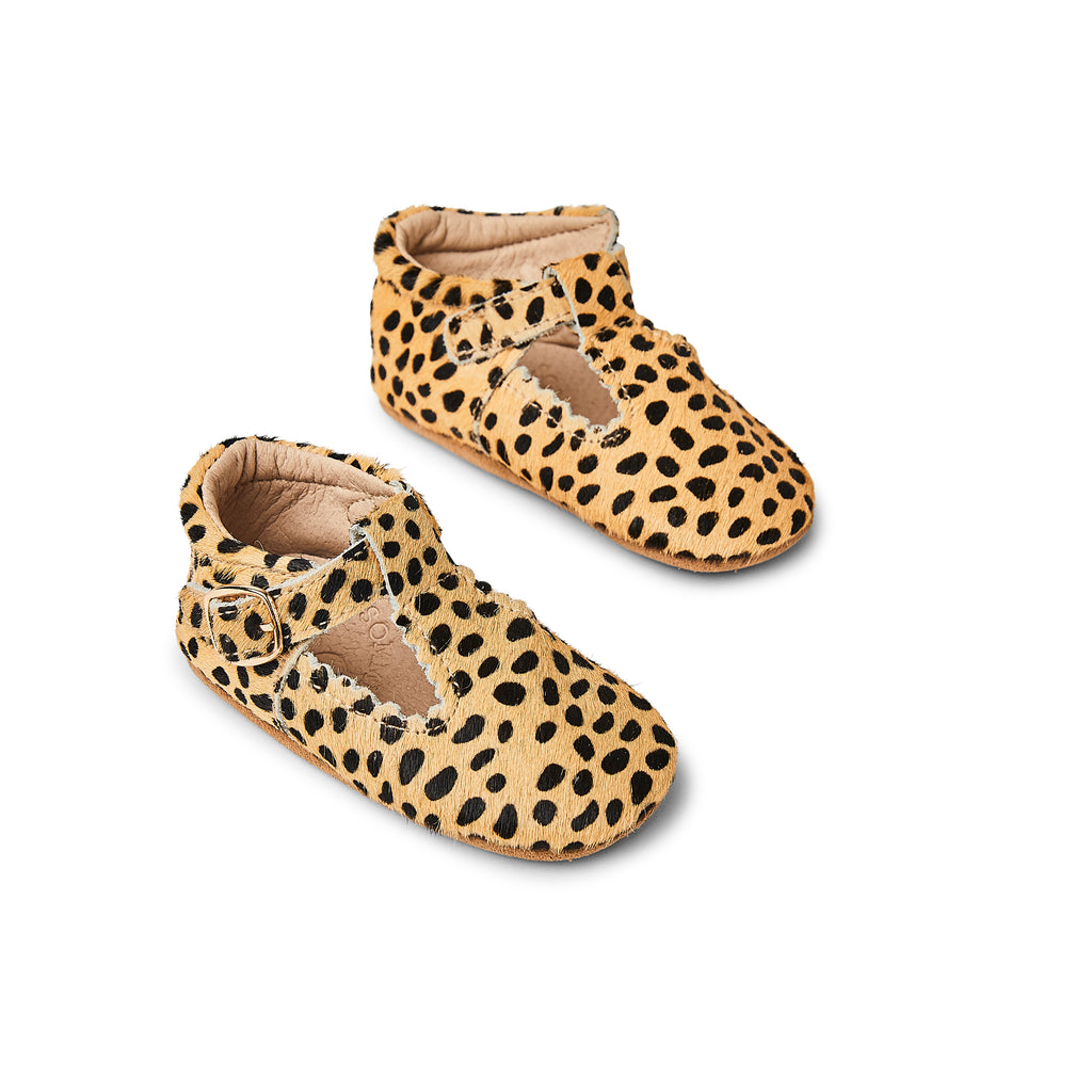 Sommerfugl Kids Cheetah Calf Hair Leather Soft Sole Baby T Bar Shoe Top View