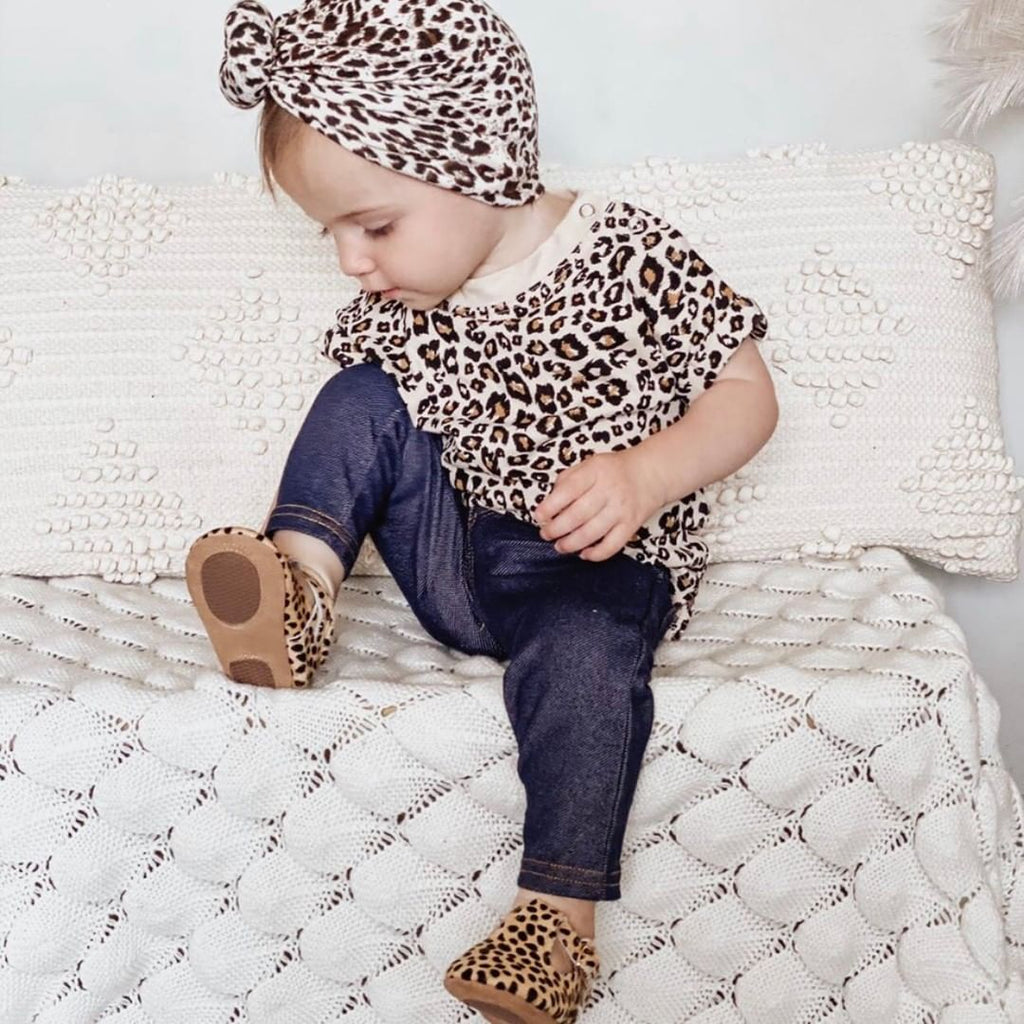 Cheetah Calf Hair Leather Baby T Bar Shoe