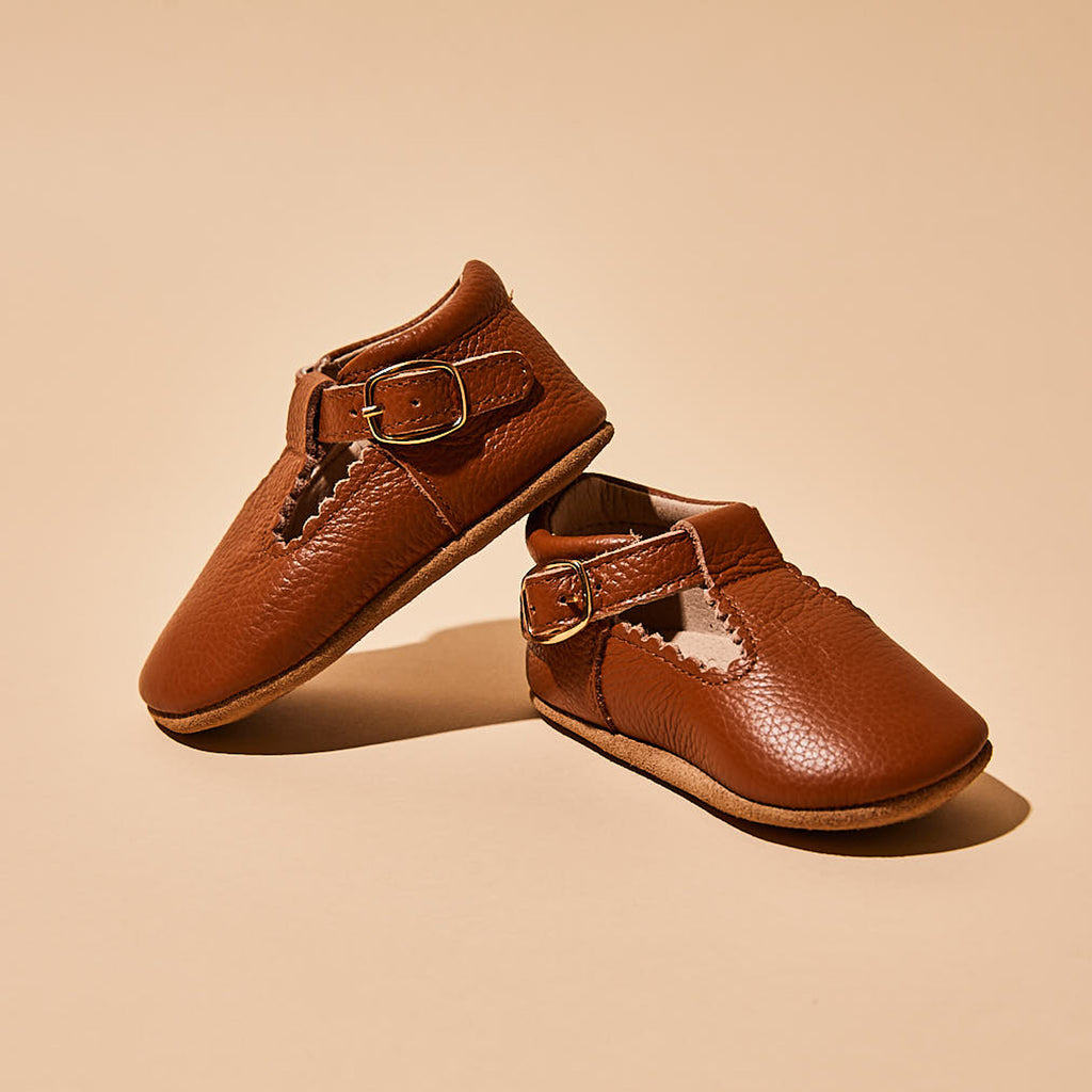 Cinnamon Leather Baby T Bar Shoe