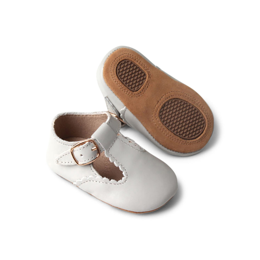 Cloud Grey Leather Baby T Bar Shoe