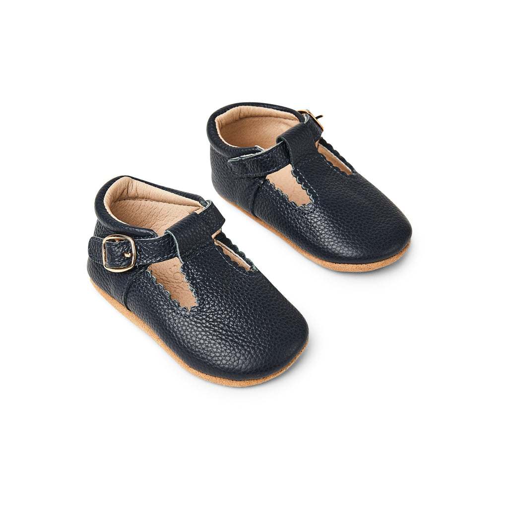 Nile Blue Leather Baby T Bar Shoe