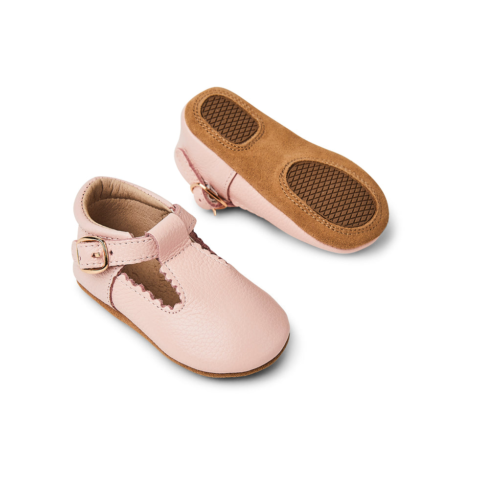 Wisp Pink Leather Baby T Bar Shoe