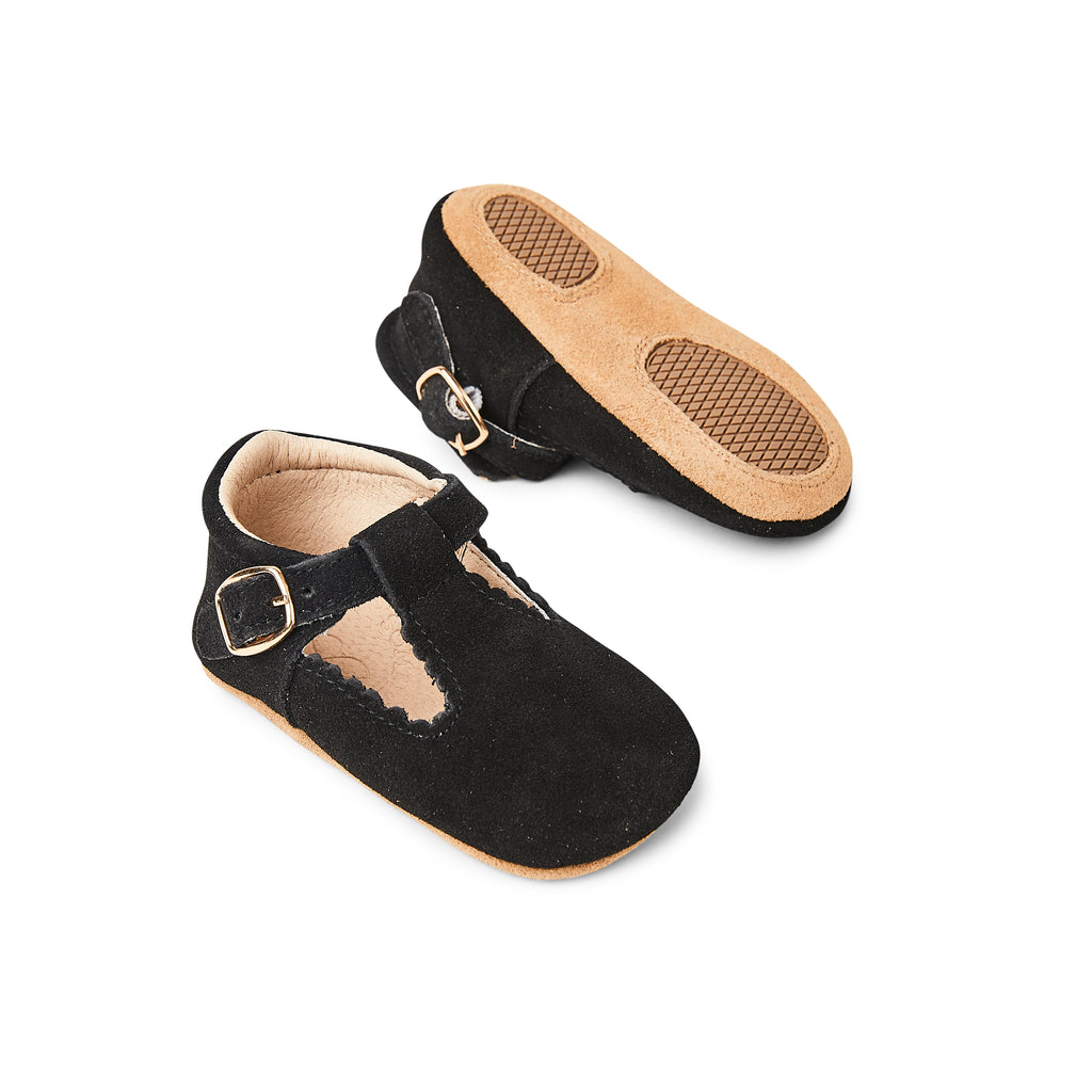 Woodsmoke Suede Leather Baby T Bar Shoe
