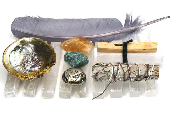 Abundance intention collection shell crystals feather smudge stick