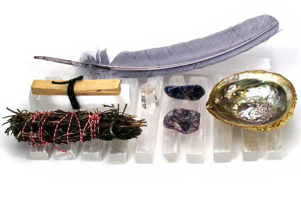 Achieve It intention collection shell crystals feather smudge stick