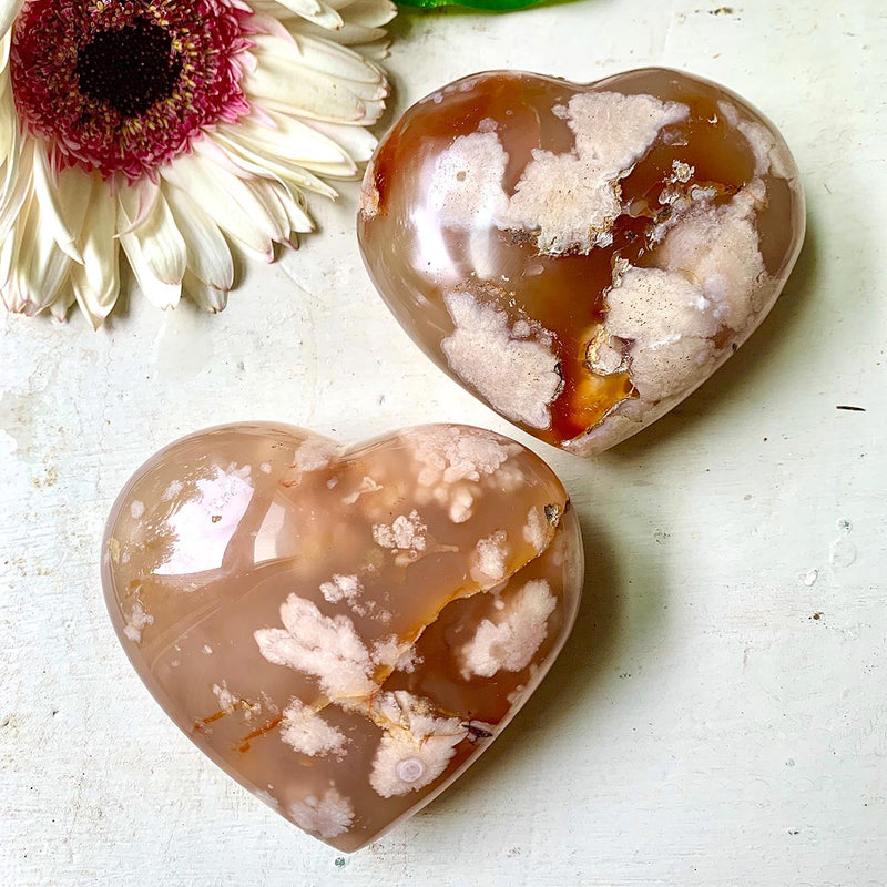 Flower Agate Hand Carved Crystal Heart
