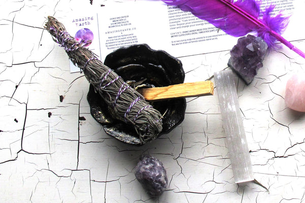love more intention collection shell crystals feather smudge stick overhead