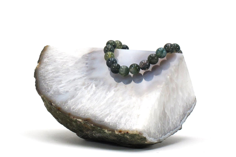 moss agate energy bracelet with crystal