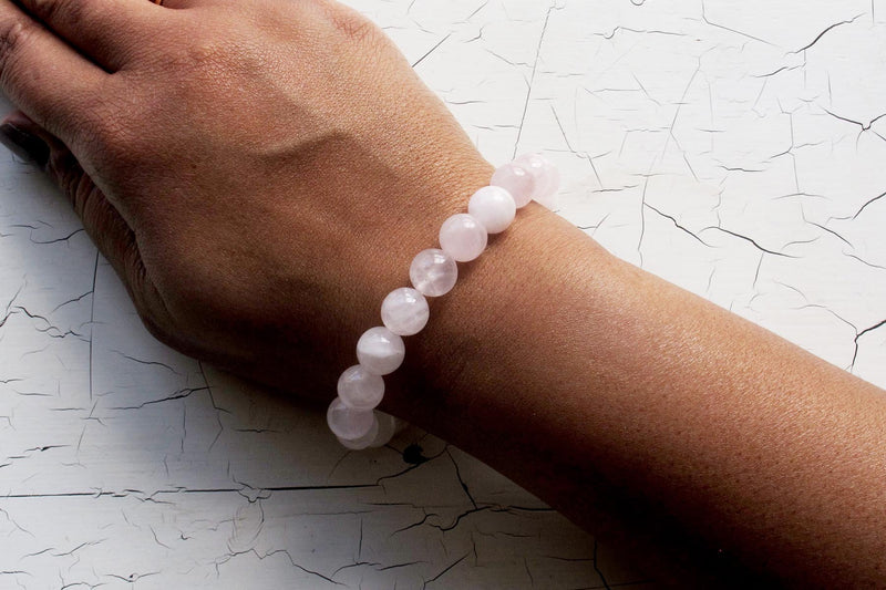 rose quartz energy bracelet models arm