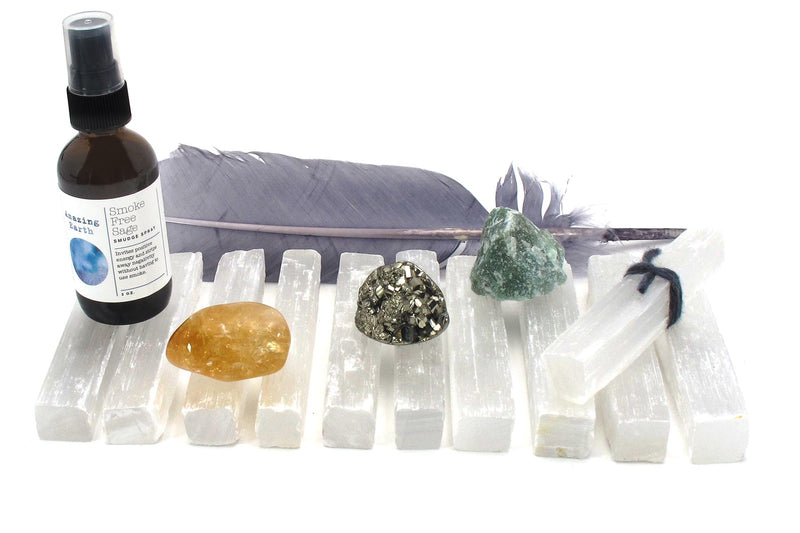 smokeless abundance intention collection crystals feather smudge spray