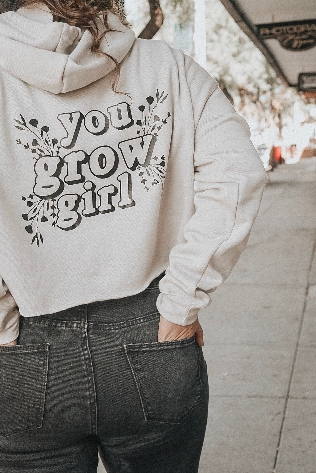 you grow girl crop hoodie