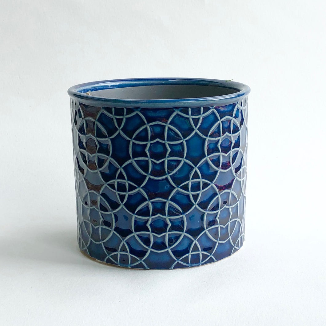 Poppy Royal Blue Cylinder Pot