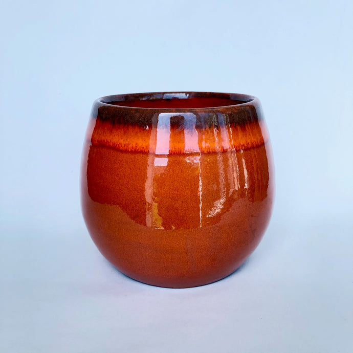 Orange Glazed Boule Pot