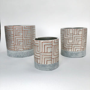 Glaze and Clay Plant Pot - Grey