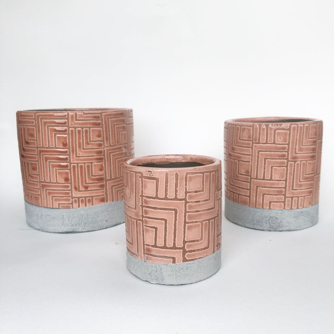 Glaze and Clay Plant Pot - Beige