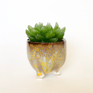 Yellow Taupe Tripod Pot