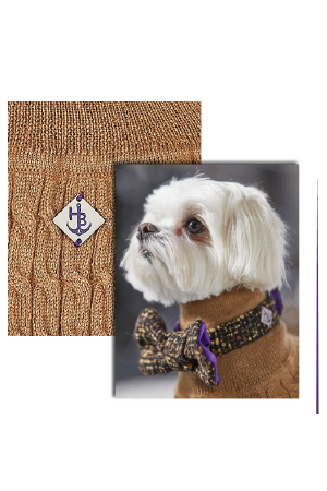 luxury dog knitted jumper in caramel brown tan, posh dog jumper, designer dog sweater handmade in Britain by Hercabella luxury canine clothing