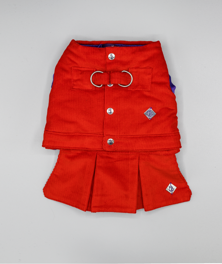 Red Waistcoat Harness with Skirt Attachment - Hercabella