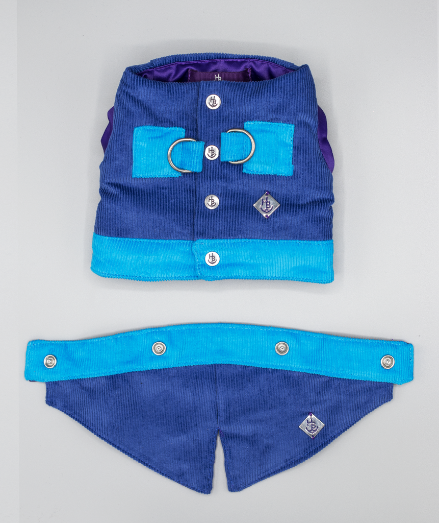 Navy and Royal Blue Waistcoat Harness with Tail - Hercabella
