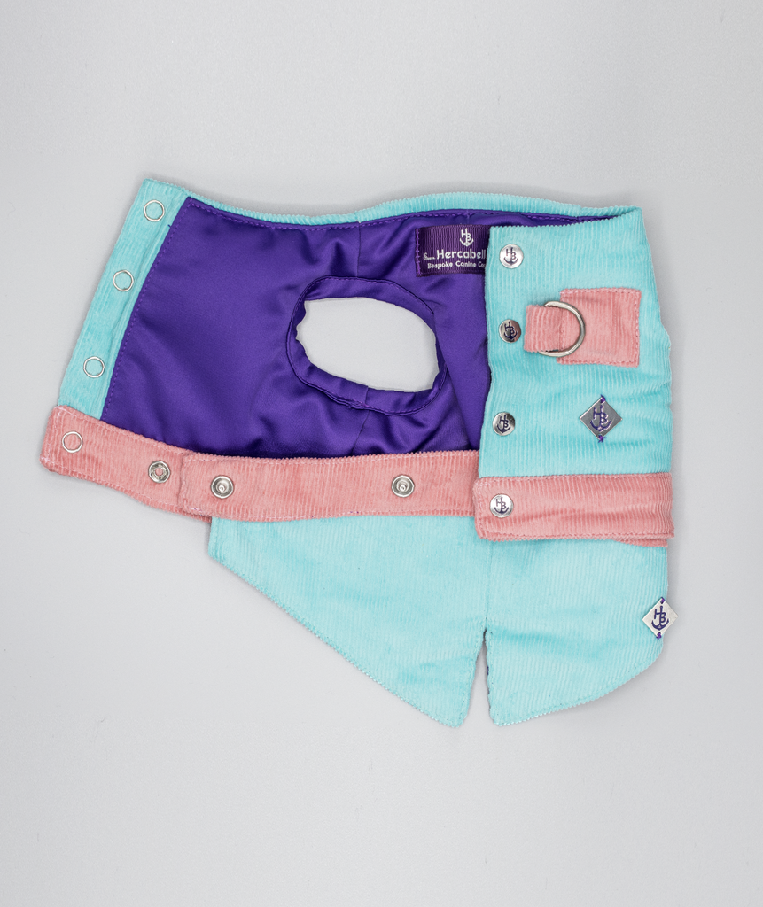 Tiffany Aqua and Pink Waistcoat Harness with Tail - Hercabella