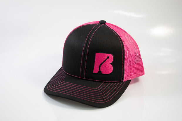 Bowler Trucker Mesh Hat Hot Pink / Black