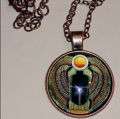 Egyptian Khepera-Black Glass Dome Pendant Necklace