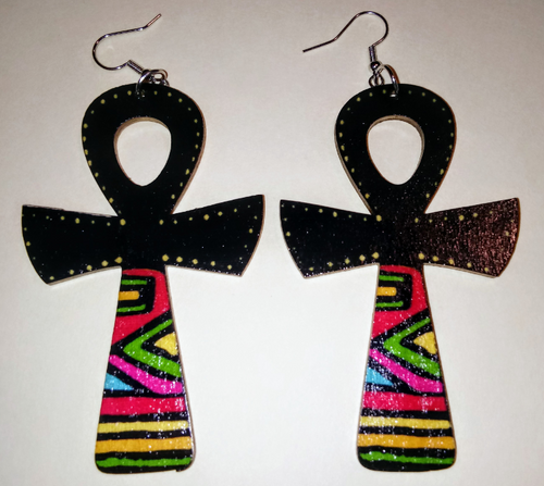 BLACK MAGIC ANKH WOODEN EARRINGS