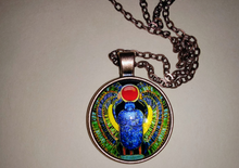 Load image into Gallery viewer, Egyptian Khepera(Scarab Beetle)Glass Dome Pendant Necklace