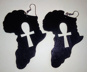 ETERNAL LIFE(ANKH) OF AFRAKA WOODEN EARRINGS