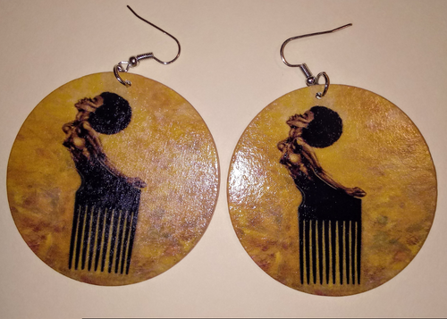 AFRO PICK WODDEN EARRINGS