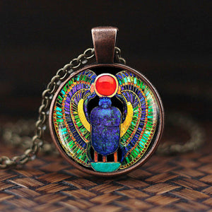 Egyptian Khepera(Scarab Beetle)Glass Dome Pendant Necklace