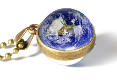 Double Sided Glass Ball (Planet Earth) Pendant Necklace