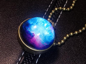 PURPLE BLUE GALAXY PLANET-Double Sided Glass Ball Pendant Necklace