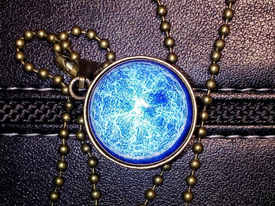 ELECTRIC BLUE COSMOS Double Sided Glass Ball Pendant Necklace