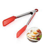 Carrywon Nylon Non-Stick Kitchen Tongs Stainless Steel Barbecue Tongs Pizza Bread Steak BBQ Tong Clip Kitchen Accessories