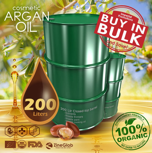 PURE COSMETIC ARGAN OIL BULK  DRUM 200 LITERS DEODORIZED AND NON DEODORIZED IN BULK - 100% CERTIFIED ORGANIC USDA - FDA