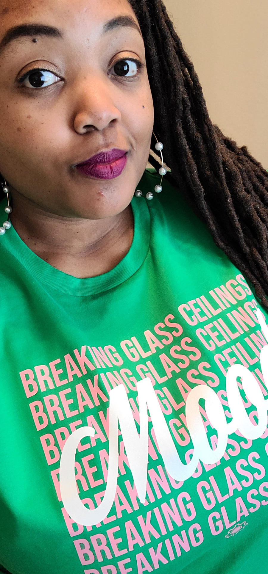 Mood: Breaking Glass Ceilings Green & Pink (UNISEX FIT T-SHIRT)-T-Shirt-ENJEN DESIGN