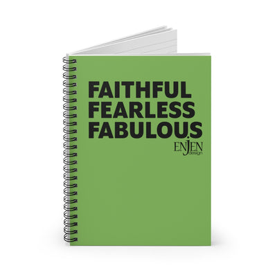 Faithful Fearless Fabulous (Spiral Notebook - Ruled Line)-Paper products-ENJEN DESIGN