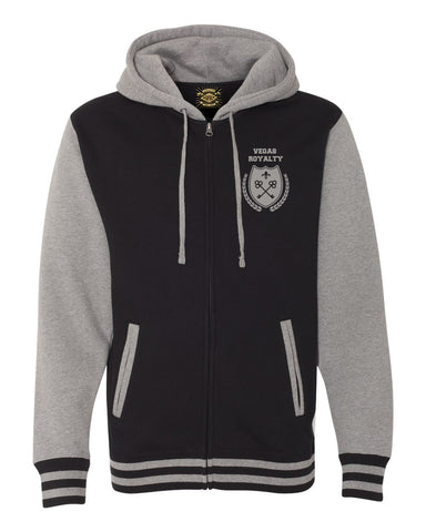 "Vegas Royalty ""Fleur De Keys"" Unisex Varsity Hooded Full Zip Sweatshirt"