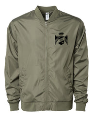 "Vegas Royalty ""Throne"" Lightweight Bomber Jacket in Army Green"
