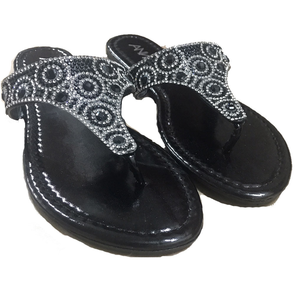 Vegas Royalty Rhinestone Summer Ladies Flat Flip Flops