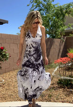 Load image into Gallery viewer, Vegas Royalty Floral Pattern Rhinestone Long Halter Sundress