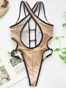 Vegas Royalty Stunning One Piece Swimsuit With Deep-V Front