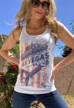 Load image into Gallery viewer, Vegas Royalty Americana Welcome Sign Racerback Tank Top